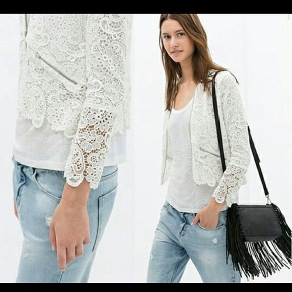 Zara Trafaluc White Crochet Lace Jacker Medium